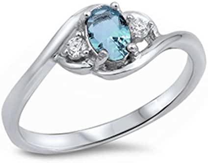 Oval Simulated Aquamarine & Cubic Zirconia .925 Sterling Silver Ring Sizes 5-10
