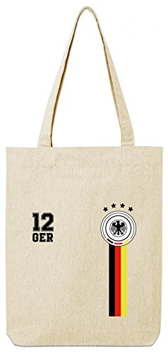 Fußball WM Fanfest Germany Gruppen Wappen Premium Bio Baumwoll Tote Bag Jutebeutel Stanley Stella 12. Mann Deutschland Trikot Natural