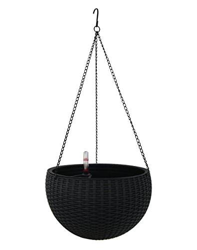 TABOR TOOLS Self-Watering Hanging Planter for Indoor-Outdoor. Wicker-Design, 10 Inch Diameter Plastic Weave Basket with Water Level Indicator Gauge. TB709A. (Black) (Self Watering Planter Wicker)