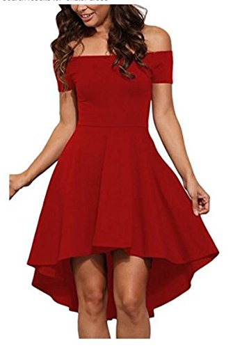 NuoReel Women Off Shoulder Short Sleeve High Low Skater Dress (Small, Bright Red)