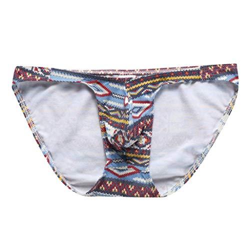 - NOMENI Men's Briefs-Sexy Underwear Transparent See Through Shorts Hot Lip Print Underpants Blue