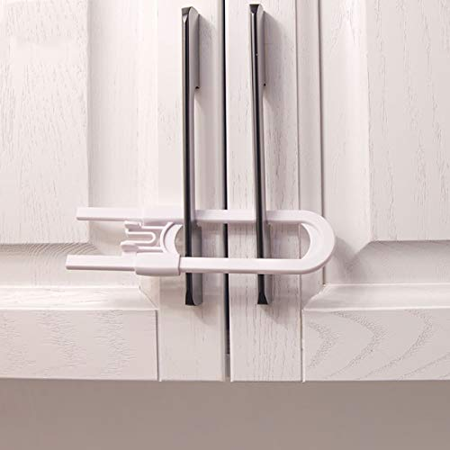 (Tianhaik 2pcs Sliding Cabinet Locks U Shaped Baby Safety Childproof Cabinet Latch for Bathroom Doors Knobs and Handles)
