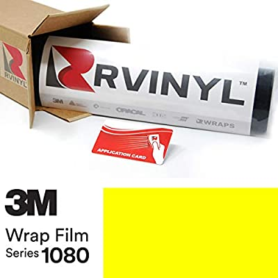 3M 1080 VCW17076 Satin NEON Fluorescent Yellow 5ft x 1ft W/Application Card Vinyl Vehicle Car Wrap Film Sheet Roll: Automotive