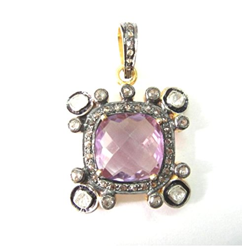 925 Sterling Silver Natural Rose Cut Pave Diamond Antique & Gold Finish Polki Locket Pendant