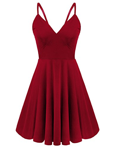 ELESOL Women Sexy Deep V-Neck Backless Skater Dress Spaghetti Strap Dress, RedM