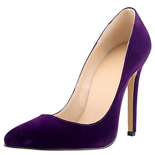Chaussures Plusieurs Escarpins Couleurs Haut Mariage Aiguille Talon en Soiree avec OCHENTA A Violet Femme Enfiler Velvet 4HqFaz