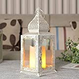 """JHY DESIGN Decorative Lanterns 13"""" High Metal Candle Lanterns Vintage Style Hanging Lantern for Indoor Outdoor Events Parities Weddings (White with Gold Brush)"""