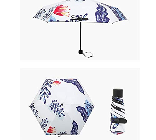 Green Umbrella Women Mini Pocket Umbrella Leaves Print Uv Protection Parasol Summer Travel Windproof Ladies Umbrella,Youlan