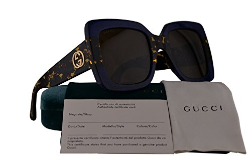 Gucci GG0083S Sunglasses Blue Havana w/Brown Lens 003 GG - Glasses Cheap Gucci Frames