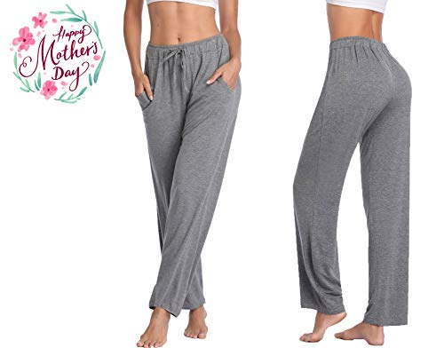 Yoga Pants Loose Straight Lounge Running Workout Legging with Pockets - Grey XL ()