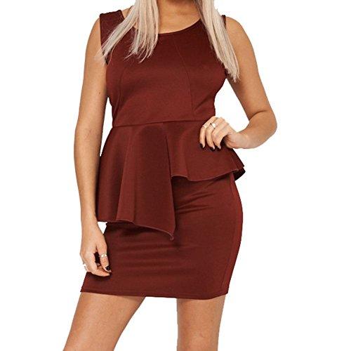 Sleeveless Ruffled Overlay Dress Plus Sizes Available -Burgundy-14