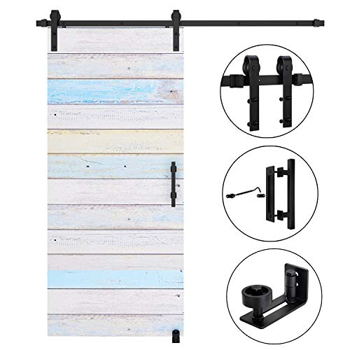 EaseLife 6 FT Heavy Duty Sliding Barn Door Hardware Track Kit Whole Set with 12'' Handle & 6'' Latch Hook & Floor Guide-Sturdy |Slide Smooth Quiet |Fit up to 36
