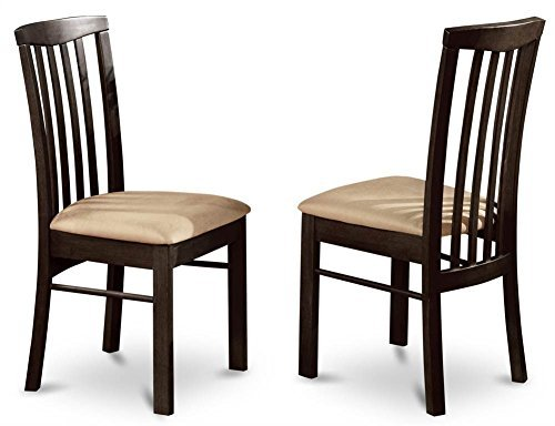 East West Furniture HLC-Cap-C Dining Room Chair Set with Cushioned Seat, Set of 2, Cappuccino Finish