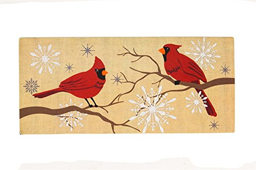 Evergreen Home & Garden FEATHERS AND SNOW INSERT Synthetic Rubber Christmas Red Bird Mat 431139Bl by -