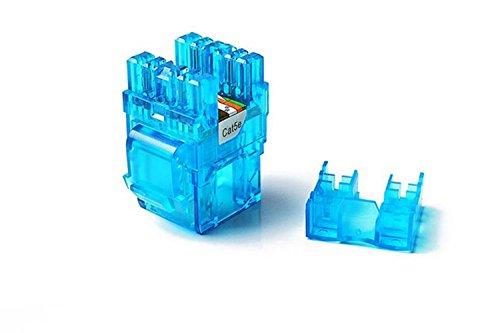 CAT5e RJ45 Transparent Unshielded Keystone Jacks Module for Faceplate & Wall Box & Patch Panel 12pcs/pack (Blue) (Transparent Color Faceplate Blue)