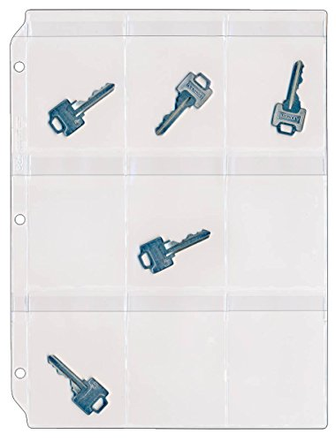 StoreSMART Key Holder - Clear Vinyl Binder Pages - 10-Pack - Top Load with Flaps- RMSTWPF-KEY-10