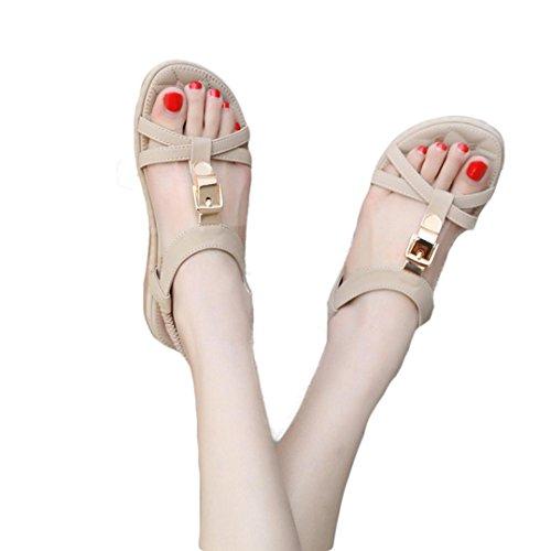 Boucle Été Rome Plein Chaussures JIANGfu Sandales Plat Métal air Pantoufles Plat de Chaussures Chaussures Kaki Sandales Bohème Femme Mode RRAaEv