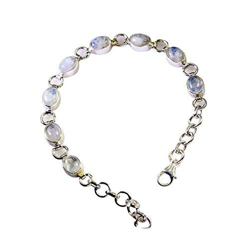 925 6 À Argent Moonstone 5 Main Pour Sterling Bracelets Real En Fait Cadeau Pouces Longueur 8 La Caratyogi Rainbow aSHwqF0