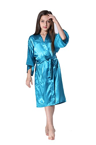 Vogue Forefront Girls' Satin Plain Kimono Robe Bathrobe Nightgown, Size 4, Peacock Blue]()