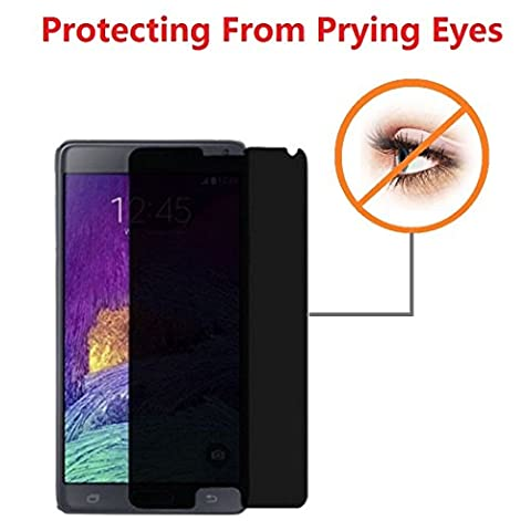 Cyxus Privacy Protective (180 Degrees) Tempered Glass 9H Hardness Film Guard Shield Screen Protector Anti-Scratch (Samsung Galaxy Note (Glass Privacy Screen For Note 4)