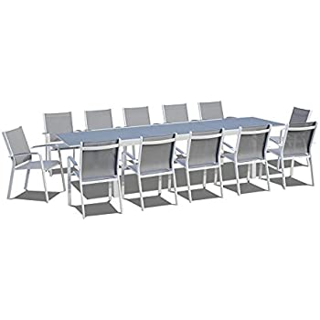 UrbanFurnishing.net - 13 Piece Extendable Modern Outdoor Patio Dining Set - Gray / White