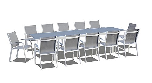 UrbanFurnishing.net - 13 Piece Extendable Modern Outdoor Patio Dining Set - Gray/White