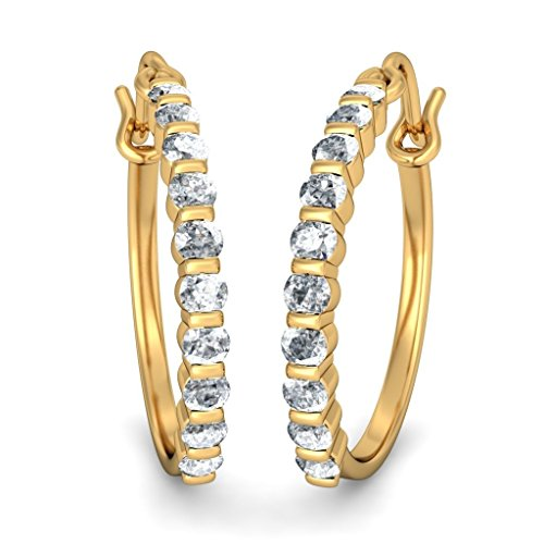 Or jaune 18 K 0,5 ct tw White-diamond (IJ | SI) Boucles d'oreilles créoles