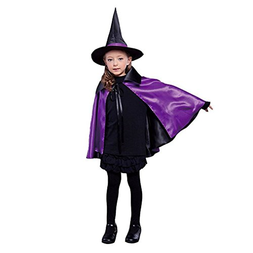 Kids Halloween Christmas Party Cloak With Hat Reversible Witch Capes Costume (90cm, Black+Purple) (Witch Girl Costume)