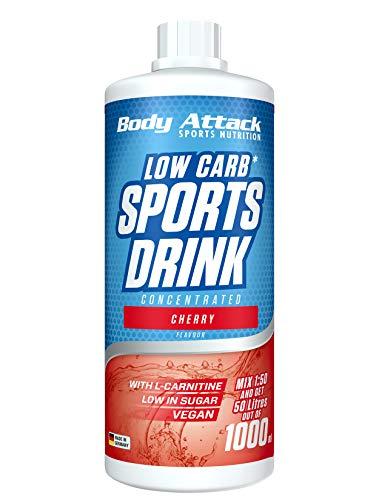 Body Attack Low Carb Sports Drink, Sportgetränkekonzentrat, Cherry / Kirsche, (1 x 1000ml)