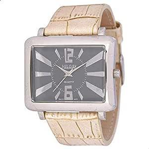 هلويزا ساعة كاجوال للرجال بسوار من جلد ، انالوج بعقارب ، 76080118