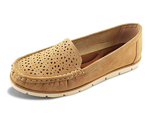 Jabasic Womens Penny Loafers Breathable Slip on Flat Shoes Moccasins (8,Tan)