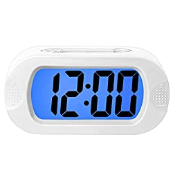 ZHPUAT Colorful Light Digital Alarm Clock with Snooze, Simple Setting, Progressive Alarm, Battery Operated, Shockproof, The Ideal Gift Clock for Kids & Convenient for Travel (White)