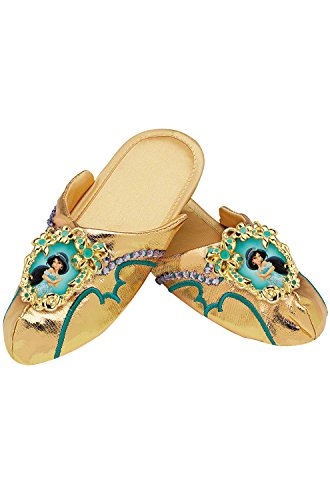 [Jasmine Deluxe Slippers,Fits Girls (One Size)] (Jasmine And Aladdin Costumes)