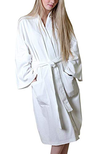 Women's 100% Organic Cotton Spa Bath Robe Kimono, Super Soft Lightweight Non-Toxic Eco-Friendly Hypoallergenic (White, M)