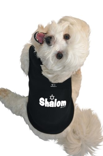 Ruff Ruff and Meow Dog Tank Top, Shalom, Black, Extra-Small