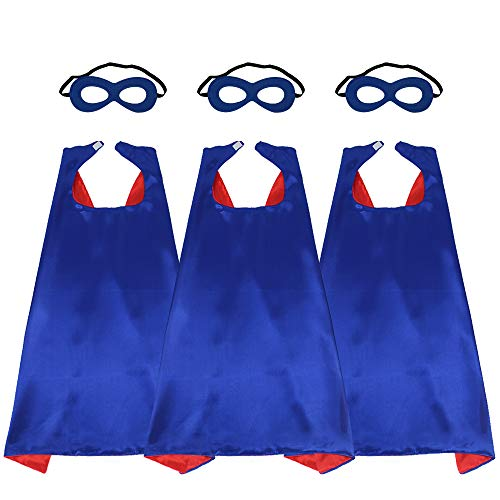 43'' Adults Super Hero Capes Masks Set Blue Red Dual Color-Women Men's Dress Up Party Costumes,3 Pack -