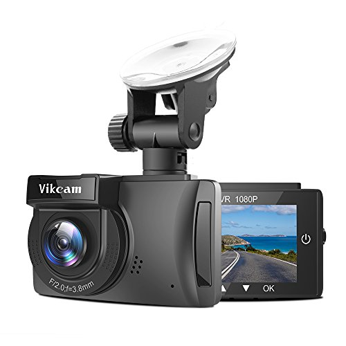 Vikcam Full HD 1080P Dash Cam GPS Dashboard Camera Recorder with 2.7 inch LCD, G-Sensor, Loop Recording