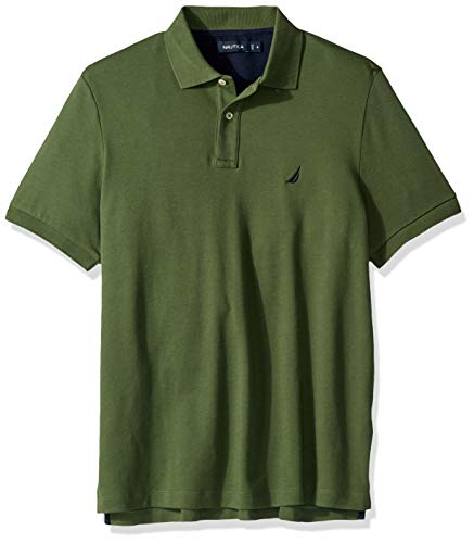 Nautica Men's Classic Fit Short Sleeve Solid Soft Cotton Polo Shirt, pine forest, 5X - Nautica Big Tall And
