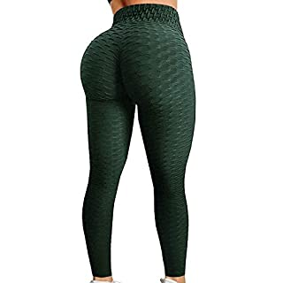 HURMES Women's High Waist Ruched Butt Lifting Booty Scrunch Anti Cellulite Workout Leggings Tummy Control Push Up Honeycomb Textured Tights Green