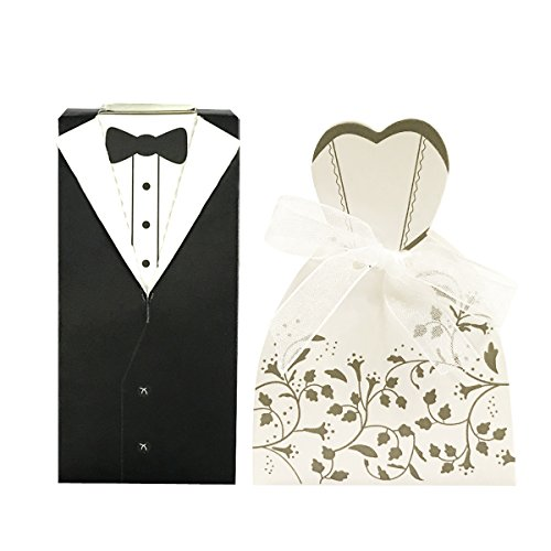 - Wrapables Tuxedo and Bridal Gown Wedding Party Favor Boxes Gift Boxes with Ribbon (Set of 100)