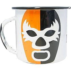 By Mexico Pocillo de Peltre modelo Máscara de Luchador Naranja y Negro 360 mililitros