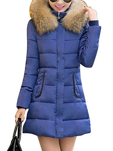 LaoZan Abrigo de invierno Chaqueta anoraks chaqueta Manga larga / Abrigo largo con capucha Para Mujer Azul