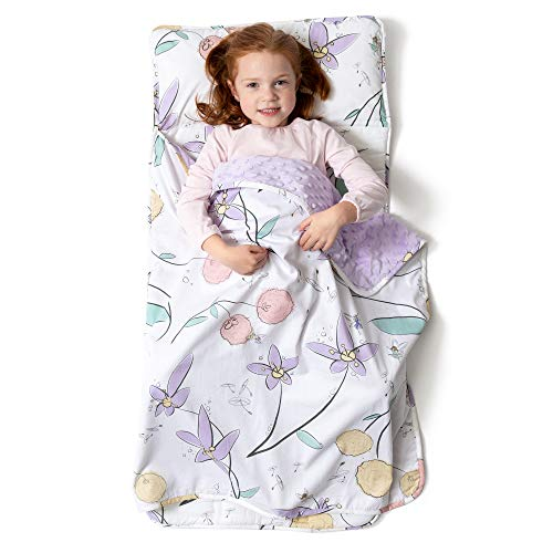 - JumpOff Jo - Little Jo's Toddler Nap Mat - Children Sleeping Bag with Removable Pillow for Preschool, Daycare, and Sleepovers - Original Design: Fairy Blossoms (43