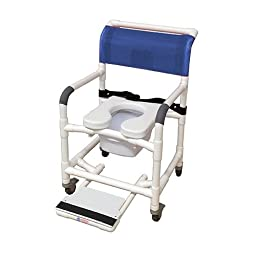MJM International 122-3TL-SSDE-BB-22-SQ-PAIL-SF Wide Shower Chair with Total Lock Casters, Soft Seat, Safety Belt, Commode Pail and Slide Out Footrest, 375 oz Capacity, 40.5\