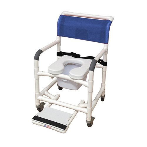 MJM International 122-3TL-SSDE-BB-22-SQ-PAIL-SF Wide Shower Chair with Total Lock Casters, Soft Seat, Safety Belt, Commode Pail and Slide Out Footrest, 375 oz Capacity, 40.5