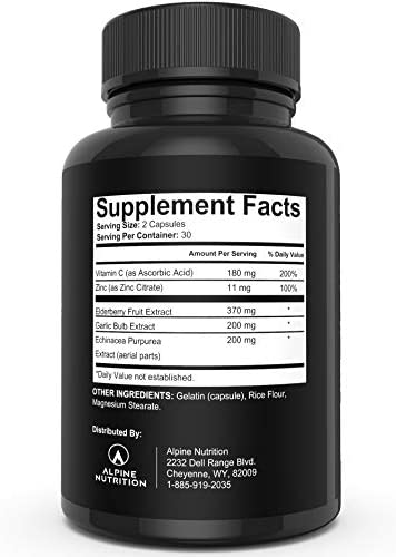 Immune Support Supplement with Zinc, Elderberry, Garlic, Echinacea Vitamin C – Elderberry Immune Support Capsules, Best for Immune System Booster 60 Capsules .