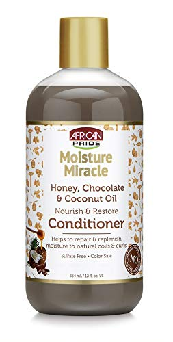 African Pride Hair Care - African Pride Moisture Miracle Honey, Chocolate & Coconut Oil Conditioner - Helps Repair & Replenish Moisture to Natural Coils & Curls, Nourishes & Restores, Sulfate Free, Color Safe, 12 oz