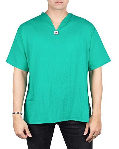 Lofbaz Men's V-Neck T-Shirt 100% Cotton Thai Hippie Shirt Yoga Top Green Mint 3XL by Lofbaz
