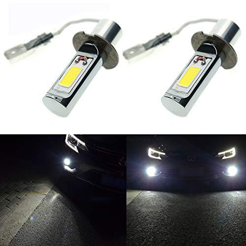 Calais Extremely Bright H3 LED Fog Light Bulbs White 2000 Lumens COB Chips Car Fog Lights Replacements(pack of 2) ()