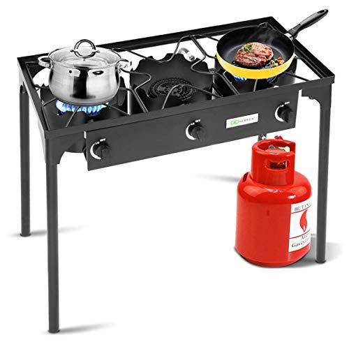 Goplus Outdoor Stove Portable Propane Gas Cooker Iron Cast Patio Burner w/Detachable Legs for Camp Cooking (3-Burner 225,000-BTU) ()